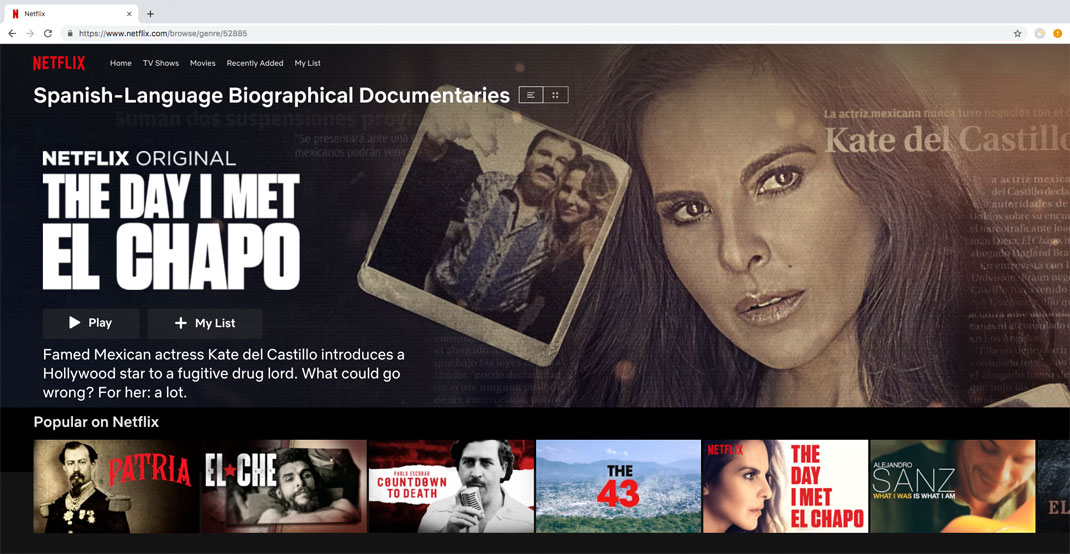 Spanish Language Documentaries Netflix page